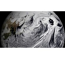 Cloud simulation of a single day centered over the middle Pacific.  Photographic Print
