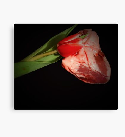 Happy Valentines Day - Tulip And Heart Canvas Print