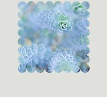 Pastel Succulent, Serenity, Blue Flower Womens Fitted T-Shirt