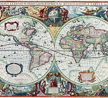 Beautiful Colorful Antique Vintage World Map by pdgraphics