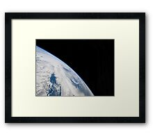 Earth's horizon and the blackness of space. Framed Print