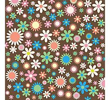 Retro Cute Colorful Brown Floral Pattern Photographic Print