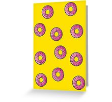 Donuts with Pink Frosting and Sprinkles Yellow Greeting Card