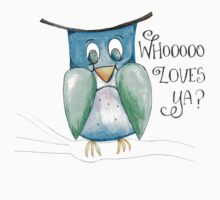 Who Loves Ya?  This sweet owl does, that's for sure! One Piece - Short Sleeve