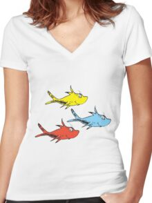 Counting FIsh Women's Fitted V-Neck T-Shirt