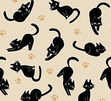 Black Kitty Pattern - Beige by vanillene