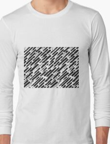 Grunge Brush Srokes Pattern Diagonal Long Sleeve T-Shirt