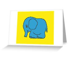 Funny cross-stitch blue elephant Greeting Card