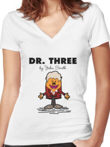 Dr Three Women's Fitted V-Neck T-Shirt
