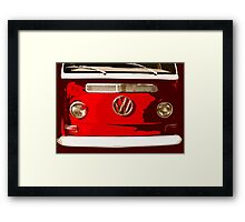 Volkswagen combi Illustration red version Framed Print