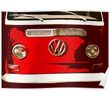 Volkswagen combi Illustration red version Poster