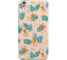 Tropical Monkey Banana Bonanza on Blush Pink iPhone Case/Skin