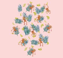 Tropical Monkey Banana Bonanza on Blush Pink Kids Tee