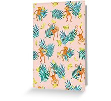 Tropical Monkey Banana Bonanza on Blush Pink Greeting Card