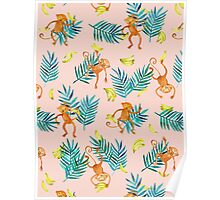 Tropical Monkey Banana Bonanza on Blush Pink Poster