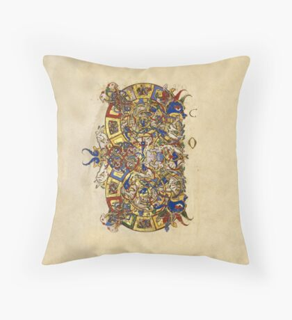 Inhabited Initial C of a Breviary from Montecassino (1153 AD) Throw Pillow