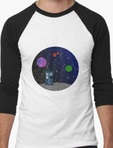 The Blue Box in the Outer Space. Men's Baseball ¾ T-Shirt