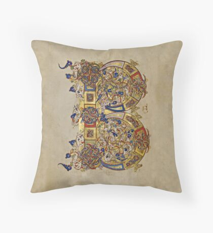 Inhabited Initial B of a Breviary from Montecassino (1153 AD) Throw Pillow