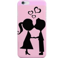 Pink kissing boy and girl printed designer I-phone device – case by Marijke Verkerk Design iPhone Case/Skin