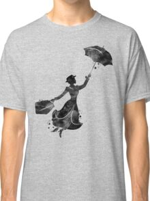 Mary Poppins Silhouette Watercolor Black Classic T-Shirt