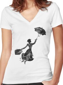Mary Poppins Silhouette Watercolor Black Women's Fitted V-Neck T-Shirt