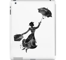 Mary Poppins Silhouette Watercolor Black iPad Case/Skin