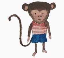 Monkey Jungle Friends Baby Animal Water Color Kids Tee