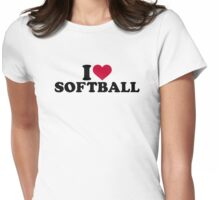 I love Softball Womens Fitted T-Shirt