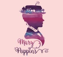 Mary Poppins Portrait Silhouette Watercolor Purple and Pink Baby Tee