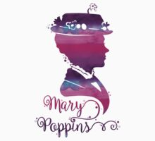 Mary Poppins Portrait Silhouette Watercolor Purple and Pink One Piece - Long Sleeve