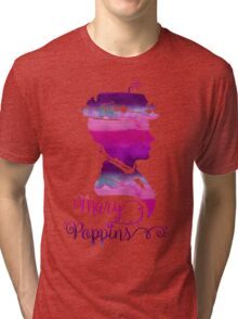 Mary Poppins Portrait Silhouette Watercolor Purple and Pink Tri-blend T-Shirt