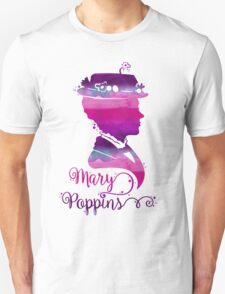 Mary Poppins Portrait Silhouette Watercolor Purple and Pink Unisex T-Shirt