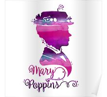 Mary Poppins Portrait Silhouette Watercolor Purple and Pink Poster