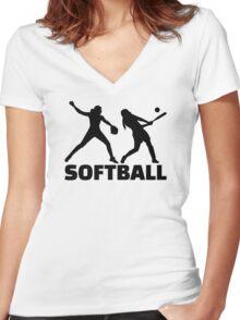 Softball Women's Fitted V-Neck T-Shirt