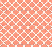 Coral Pink White Quatrefoil Pattern by dreamingmind