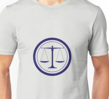 Blue Scales of Justice Silhouette Unisex T-Shirt