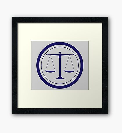 Blue Scales of Justice Silhouette Framed Print
