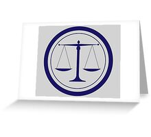 Blue Scales of Justice Silhouette Greeting Card