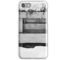 Black and white fence in snow, photograph iPhone Case/Skin