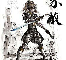 Fallout inspired Samurai Warrior Girl in armor with Sumi Ink by Mycks