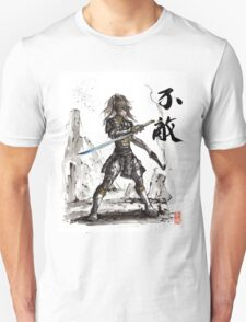 Fallout inspired Samurai Warrior Girl in armor with Sumi Ink T-Shirt