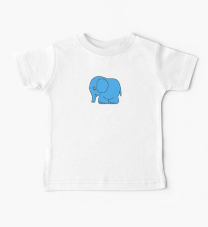Funny cross-stitch blue elephant Baby Tee