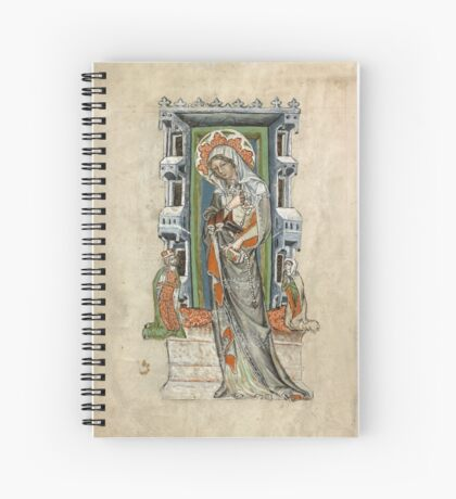 Medieval Miniature - Saint Hedwig of Silesia with Duke Ludwig of Legnica and Brieg and Duchess Agnés (1353 AD) Spiral Notebook