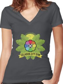 Celadon City Gym Women's Fitted V-Neck T-Shirt