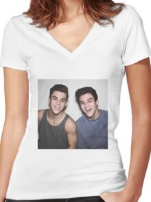 Dolan Twins smileing Women's Fitted V-Neck T-Shirt