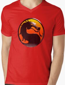 MORTAL KOMBAT PIXEL LOGO Mens V-Neck T-Shirt