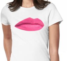 Pink Matte Sexy Lips Womens Fitted T-Shirt