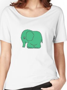 Funny cross-stitch green elephant Women's Relaxed Fit T-Shirt