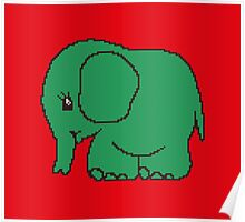 Funny cross-stitch green elephant Poster