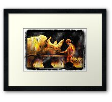 rhino act at a circus Framed Print